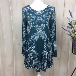 Free People Teal Floral Open Back Mini Dress